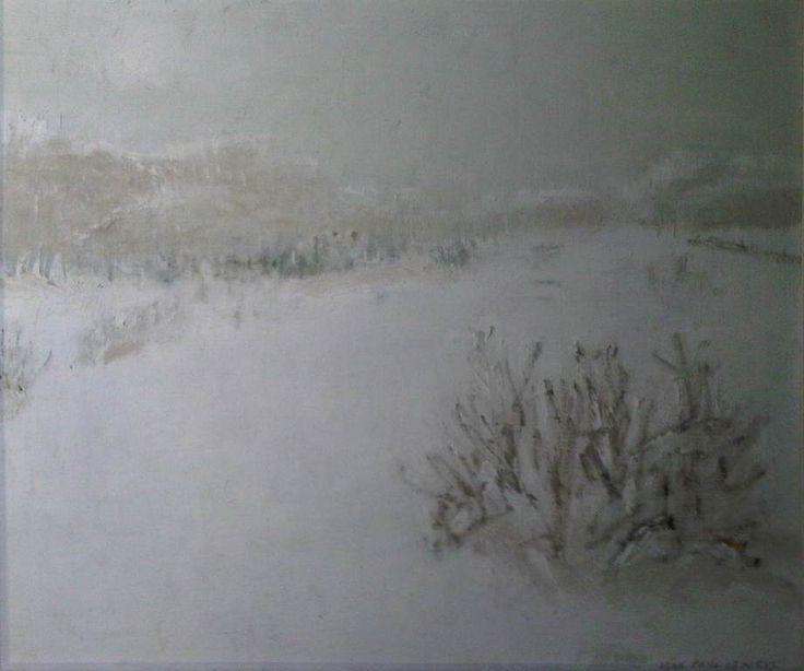 """Jean-Paul Lemieux, """"Matin givré,"""" 1976, huile sur toile, 18.25"""" x 21.75"""" Illustré Numéro 5 dans le catalogue de l'exposition « Les quatre saisons, » (1976) Galerie Gilles Corbeil."""