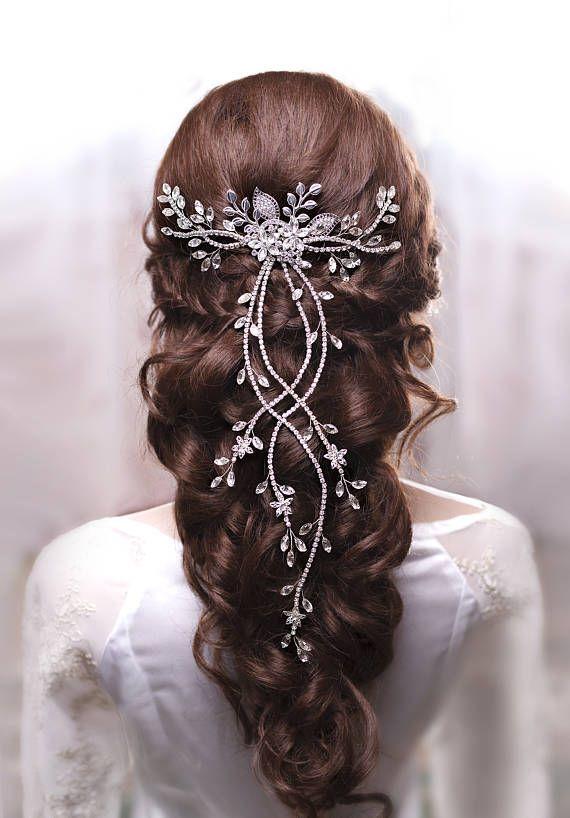 Crystal hair vine Bridal hair vine Wedding hair vine Long hair #EtsyCIJ