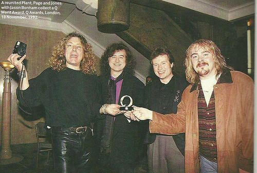 Robert Plant, Jimmy Page and John Paul Jones of Led Zeppelin with Jason Bonham at the Q Awards - London 92