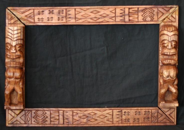 Vintage Hawaiian Tiki Theme Carved Wood Frame Fresh