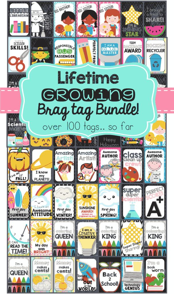 Brag Tags for EVERYTHING! Award your students with positive reinforcement, and make your classroom run smoother! This is an amazing classroom management system!