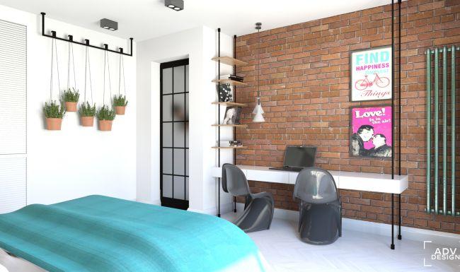 www.advdesign.pl 87m2_8 brick radiator bedroom emerald copper