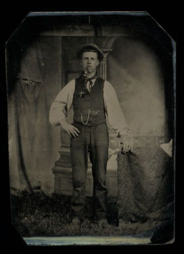 Tintype-Photo-of-Handsome-Young-Guy-Wearing-Hat-Smoking-Pipe-amp-Flower-in-Pocket