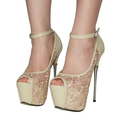 Getmorebeauty Women's Lace Flower Strappy Hollow High Heels 3.9 out of 5 stars    46 customer reviews  | 4 answered questions Price:$35.98 - $39.90 & FREE Returns on some sizes and colors. Details Fit:  As expected (60%)