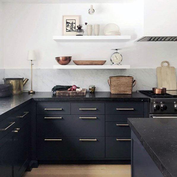Top 50 Best Black Kitchen Cabinet Ideas Dark Cabinetry Designs Kitchen Interior Kitchen Design Interior Design Kitchen