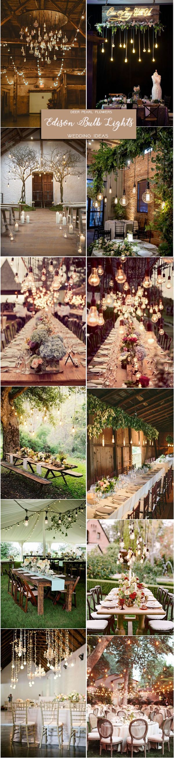 rustic wedding ideas edison bulb light wedding decor ideas /  / http://www.deerpearlflowers.com/rustic-wedding-themes-ideas-part-2/