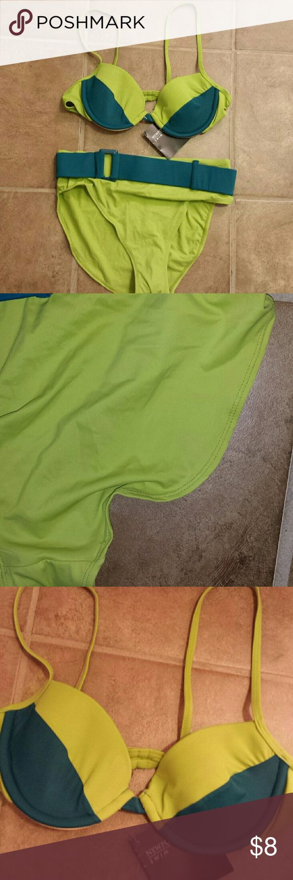 Size 10 swimsuit Size 10 Newport News swimsuit.  The bottoms are brand new but the elastic along one side (along the butt cheek) Are rotted out. The top is fine but sell together.  If you don't want the bottoms do what you want with them. Newport News Swim Bikinis