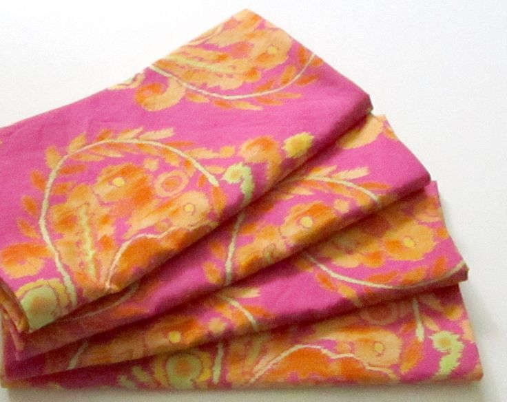 Cloth Napkins - Set of 4 - Hot Pink Fuchsia Ikat Design - Dinner, Table, Everyday, Wedding by ClearSkyHome on Etsy