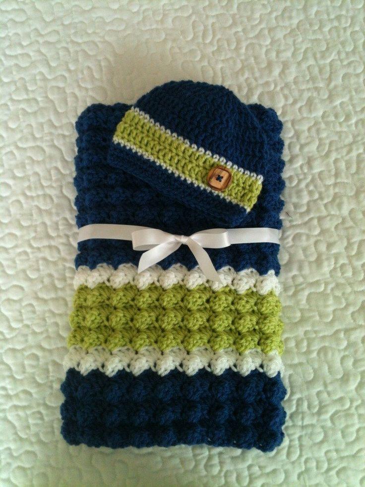 Baby Boy Blanket - Crochet Baby Boy Blanket and Hat - Baby Shower Gift - Blue Blanket Set - Newborn Set by StoneManorCrochet on Etsy https://www.etsy.com/listing/194952958/baby-boy-blanket-crochet-baby-boy