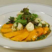 Mango Mozzarella Salad...  Try this fresh mango, mozzarella salad, a delight for your taste buds!