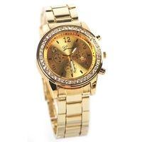 Nuevos hombres y mujeres de ginebra Bling cristal cuarzo Unisex de acero inoxidable reloj de pulsera #L05646