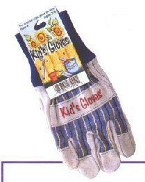 Leather and Cotton Gardening Gloves-Size Child's Large by Toysmith. $9.39. Keep hands safe during garden play. Small size for ages 8 - 10. Look like adult gloves for real work.. Made from thick and sturdy cotton fabric. Comfortable knit wristband cuff. Large Kid's Gardening Gloves by Toysmith® are just the thing for little hands working outside. These heavy duty work gloves are made of cotton duck with a leather palms and extended knit cuffs. This size is Large, desig...