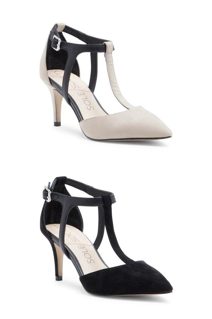 Classic t-strap mid heel pumps