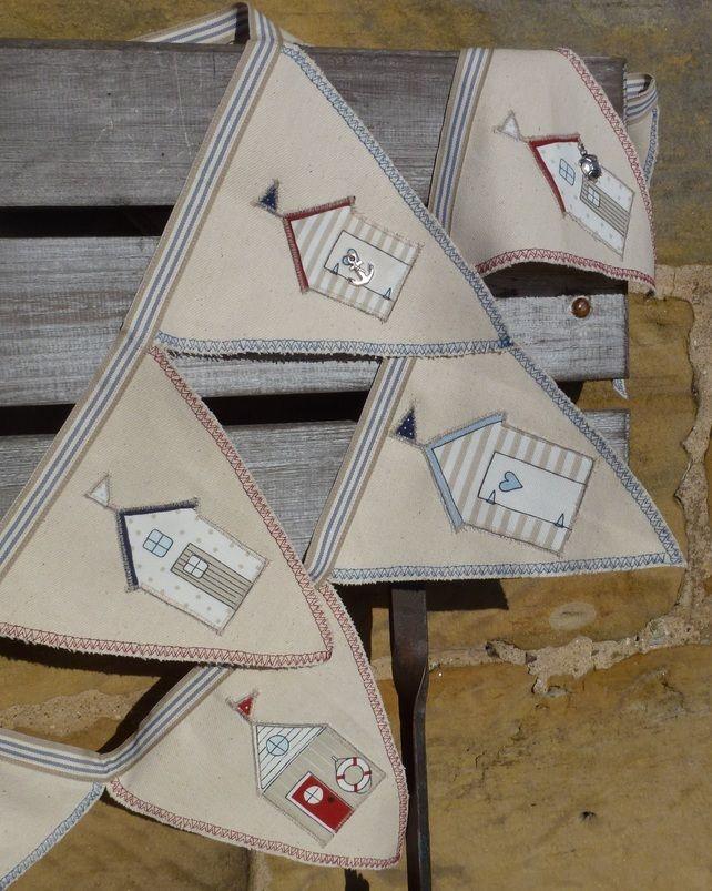 Handmade Shabby Chic East of India Ribbon Beach Hut Nautical Seaside Bunting