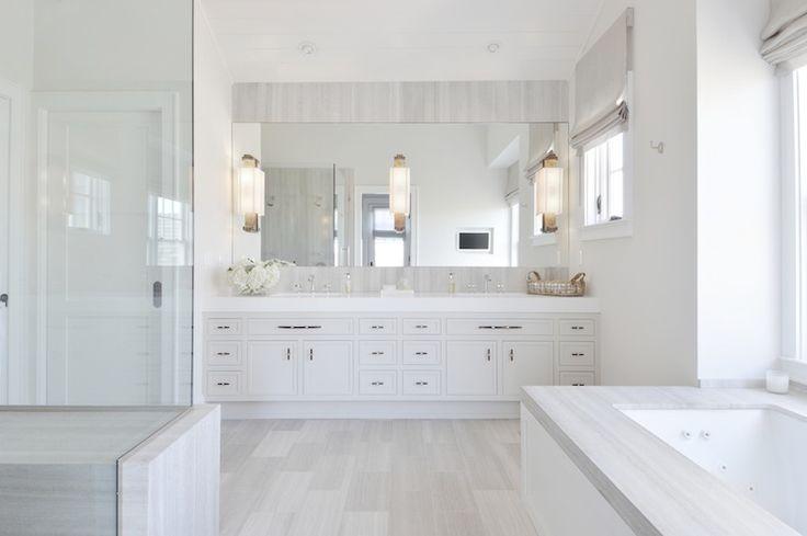 Light Gray Tile Floor, Stone Shower & Vanity Backsplash