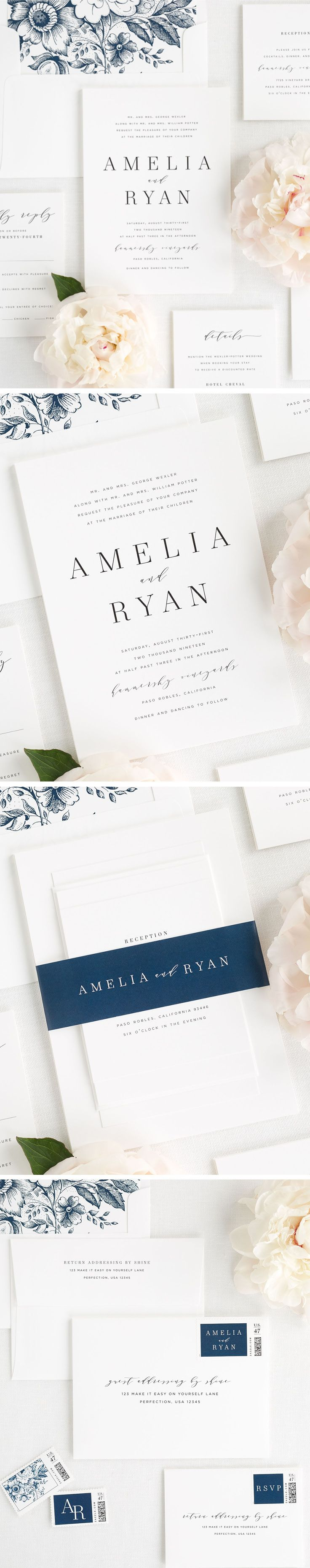 A romantic serif font mixed with modern calligraphy? Yes please! Our new Amelia wedding invitation suite makes a big statement while still remaining simple and classic. If you are looking for a gorgeous way to tie it all together, check out our new 100% custom dyed silk ribbon.  Shown here in sapphire with a pretty floral envelope liner, in navy, we guarantee you will be falling hard for Amelia. Click here to personalize this gorgeous suite to the wording of your choice and any of our 40…