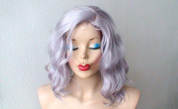 Silver wig. Lavender silver color Short Beach wavy by kekeshop
