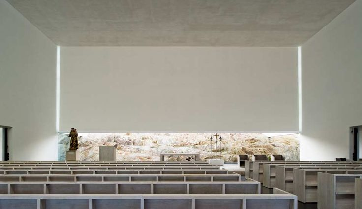 Interior of the St. Antonio's church and Community Centre by Portugese architects JLCG Arquitectos.
