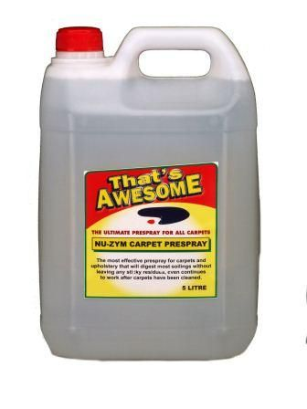 Carpet Prespray 5 Litre has powerful enzyme prespray which is used to initiate cleaning process. It can be used on its own with Multi Task Carpet/Rug brush for those quick clean up. Price of Carpet Prespray is $49.95