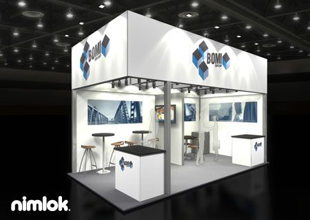 Nimlok creates trade show displays and healthcare exhibits. For Bomi Group, we designed 10x20' trade show booth to showcase their brand.