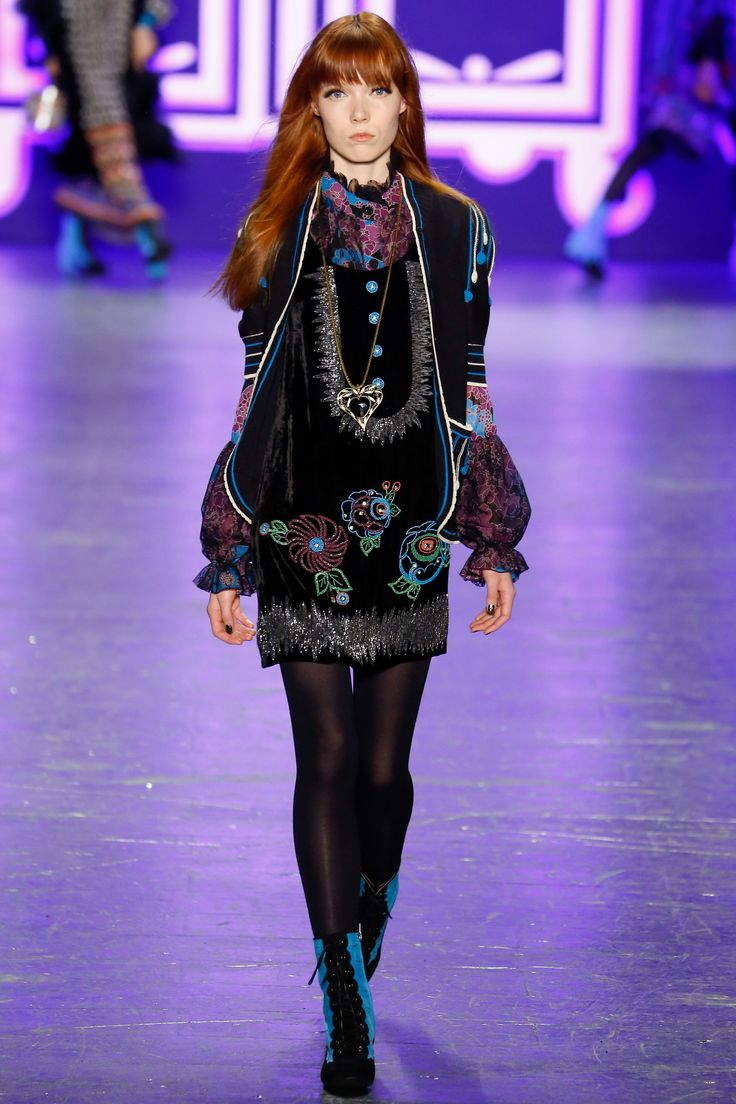 Mod Black Short Dress with a Touch of Turquoise and Pink by Anna Sui Fall 2016 Ready-to-Wear Fashion Show