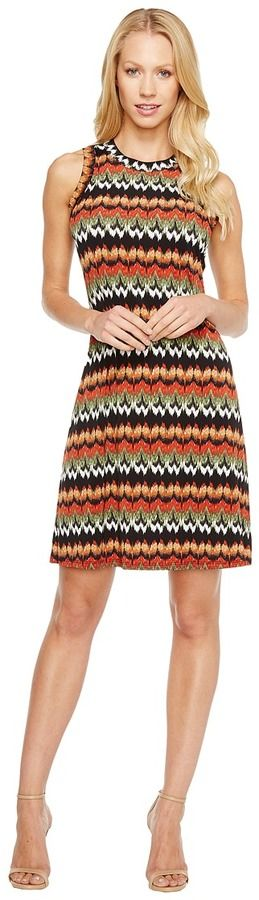 Karen Kane Abstract Zigzag Halter Dress