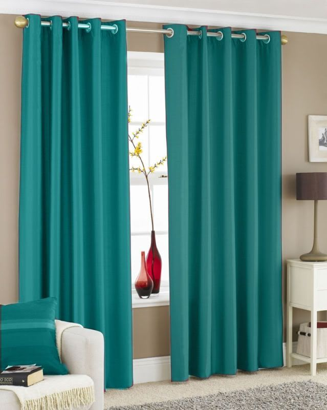 Turquoise Curtain Panels Pair Of Faux Silk Curtains Eyelet Ring Top Ebay Living Room Turquoise Turquoise Curtains Living Room Curtains Living Room