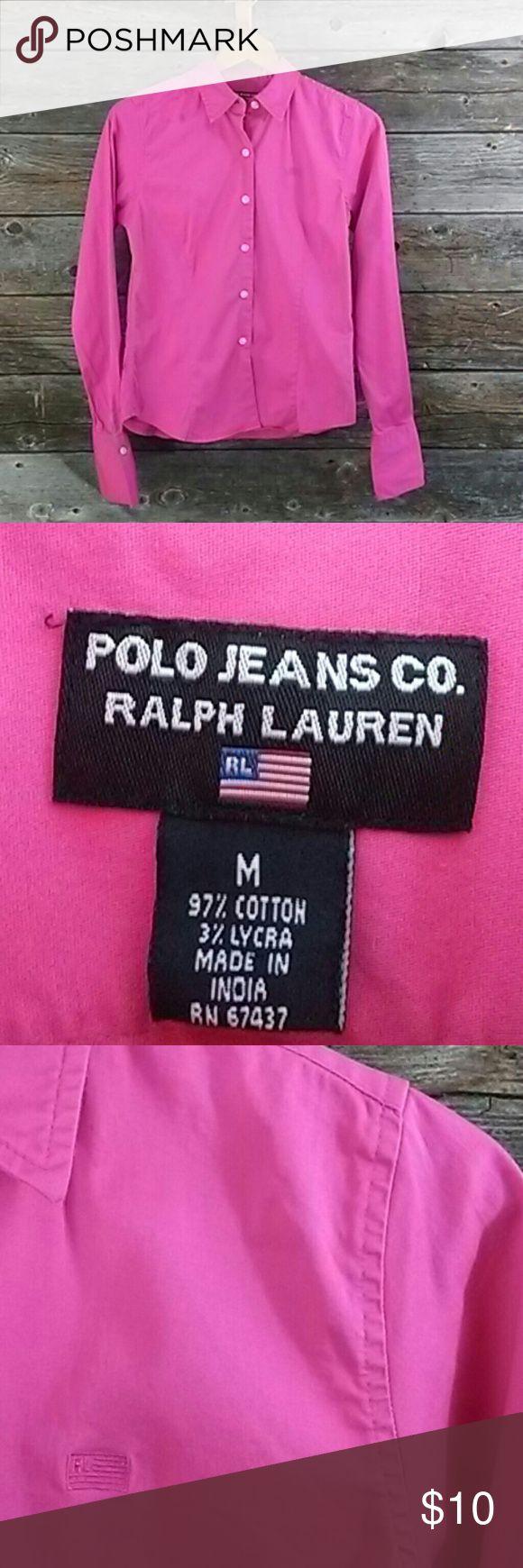 Polo Jean Co Ralph Lauren shirt Polo Jean Co Ralph Lauren button down long sleeve shirt. Size M. Super cute darker pink shirt. Soft cotton shirt. Polo Jeans Co Ralph Lauren  Tops Button Down Shirts