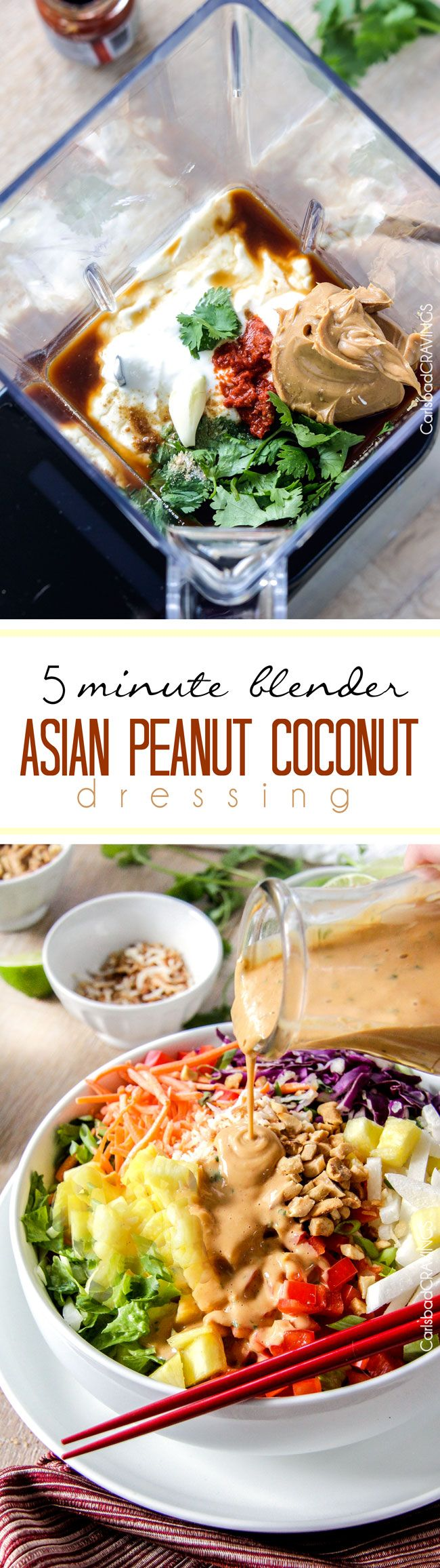 5 Minute Blender Asian Peanut Coconut Dressing is so ridiculously delicious you will want to put it on everything! #dressing #salad #peanut #Asian via @carlsbadcraving