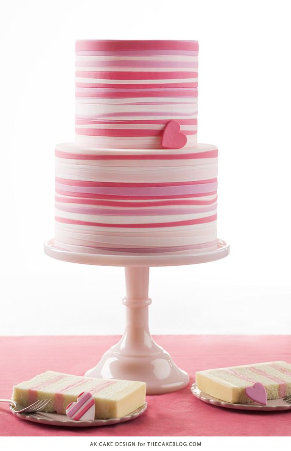 Pink Striped Heart Cake | by AK Cake Design for TheCakeBlog.com