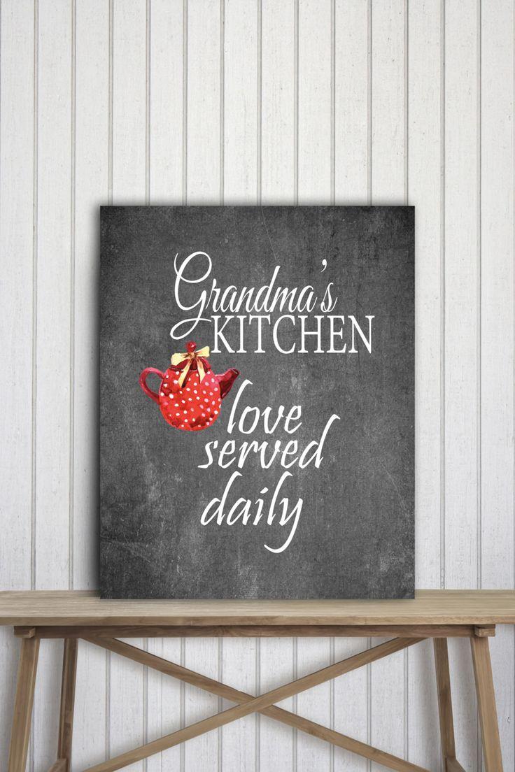 Grandma Gift, Grandmother Birthday Chalkboard Printable Decor, Family Poster Kitchen Chalkboard Design, Red Black White Decor, Family Gift by PRINTANDPROUD on Etsy