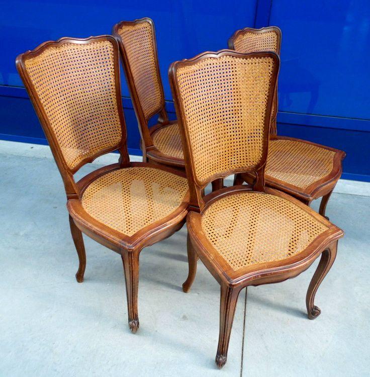 4 sedie in stile Luigi XV provenzali seduta e schienale in paglia di Vienna/faggio
