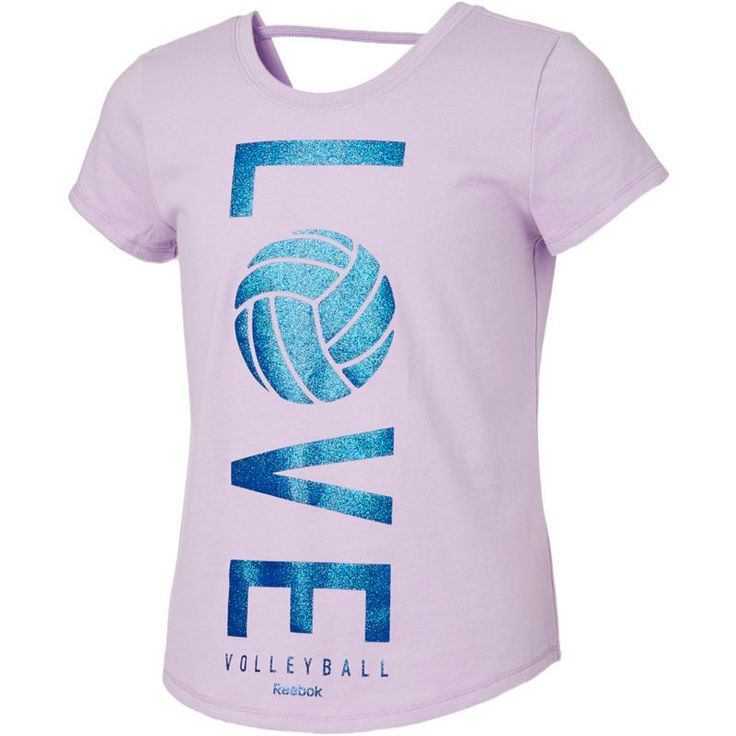 Reebok Girls' Cotton Love Volleyball Graphic Strap Back T-Shirt, Size: Medium, Purple