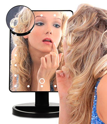 GLAMSMACKED ® Illuminated Bright Light Cosmetic 22 LED Table Top Touch Screen Mirror With Removable 5 x Magnification Spot Mirror and Handy Make Up Tray – Perfect for Applying Make Up, Contact Lenses, Shaving, Tweezing, Threading, Dressing Tables and More - Rotates And Magnifying - Dimmer Light #GLAMSMACKED #Illuminated #Bright #Light #Cosmetic #Table #Touch #Screen #Mirror #With #Removable #Magnification #Spot #Handy #Make #Tray #Perfect #Applying #Contact #Lenses, #Shaving, #Tweezing…