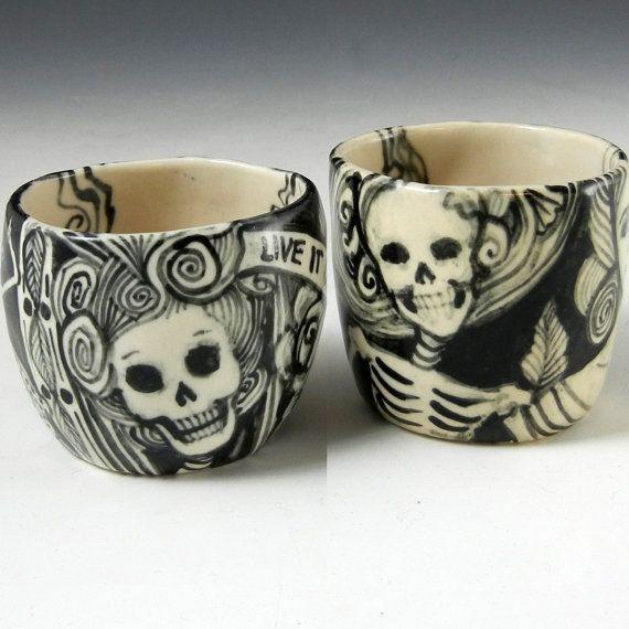 Skulls:  Porcelain Shot Glasses/Tea Set with #Skeletons in Black and White.