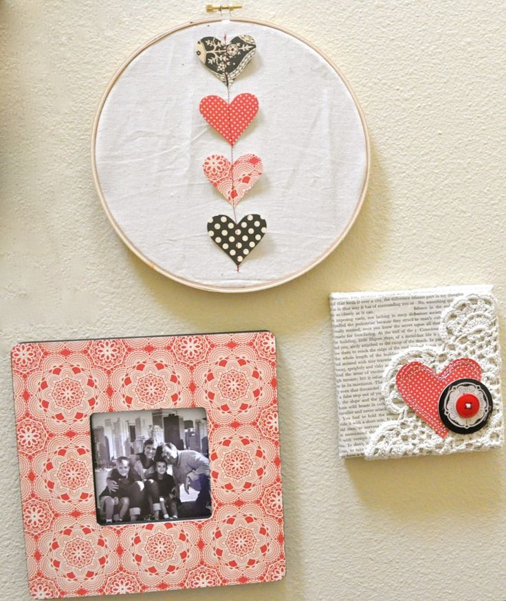 simple hearts sewn on embroidery hoop