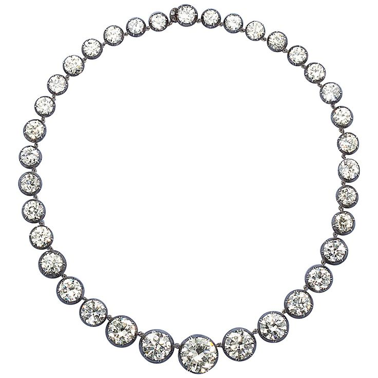 Rare Antique 85.90 Carats Diamonds Graduated Necklace | From a unique collection of vintage choker necklaces at https://www.1stdibs.com/jewelry/necklaces/choker-necklaces/