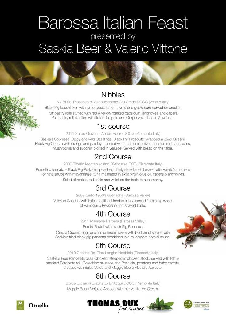 Saskia Beer & Valerio Vittones Italian Feast menu