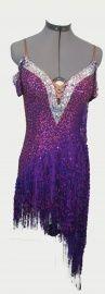 Paarse latin jurk | TE KOOP AANGEBODEN! wedstrijdkleding dames | DeJo`s Danceworld