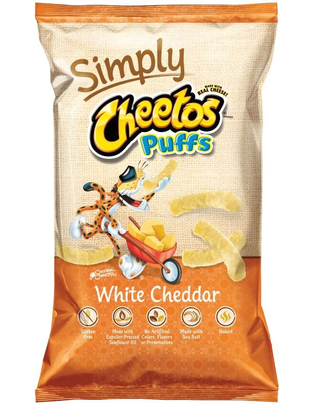 CHEETOS® Puffs Simply White Cheddar Cheese Flavored Snacks. Gluten Free. These are really good! And no orange fingers! :-)