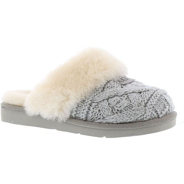 UGG Cozy Cable Women's Grey Slipper (390 PEN) ❤ liked on Polyvore featuring shoes, slippers and grey