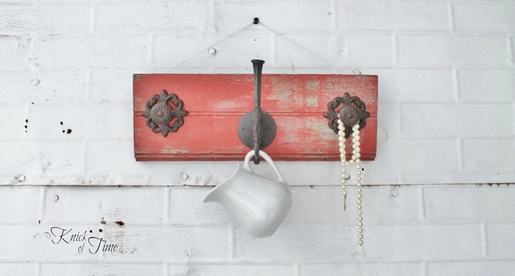 Reclaimed Wood Coat Rack - Coat Hook, Jewelry Wall Hook - Created from Antique Salvaged Wood. $36.00, via Etsy.