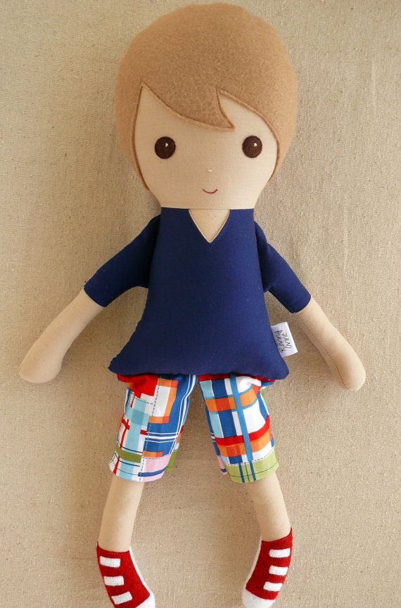 Fabric Doll Rag Doll Light Brown Haired Boy in Plaid Shorts