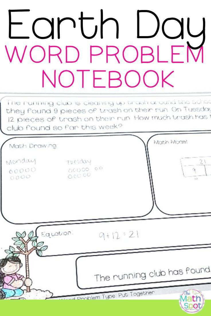 Earth Day First Grade Word Problems Distance Learning Packet