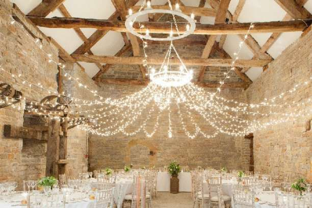 Gorgeous lighting at this barn wedding venue. Almonry Barn Wedding Reception Venue in Langport, Somerset
