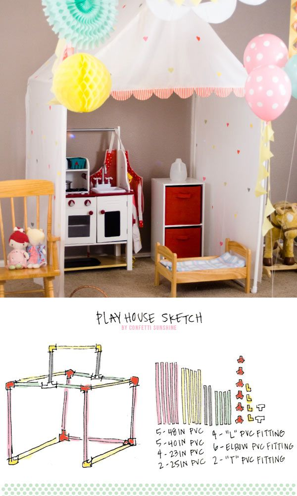 {Confetti Sunshine} How to make a Child Size Doll House with PVC pipeSunflowers Wedding Cake, Confetti Sunshine, Diy Child, Dollhouse Bedrooms, Dollhouse Ideas, Child Size, Dolls House, Doll Houses, Size Dolls