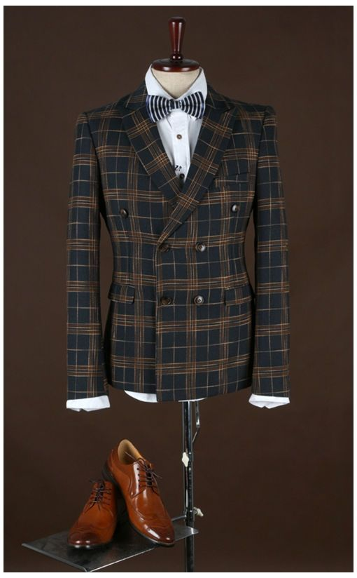 2017 checkered suit Slim double breasted Groom Tuxedos Business Suits Wedding Men Bridegroom Blazer 2 piece jacket pant