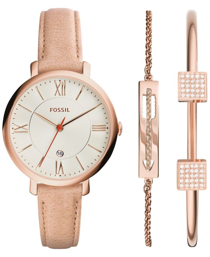 Fossil Women's Jacqueline Light Brown Leather Strap Watch ...