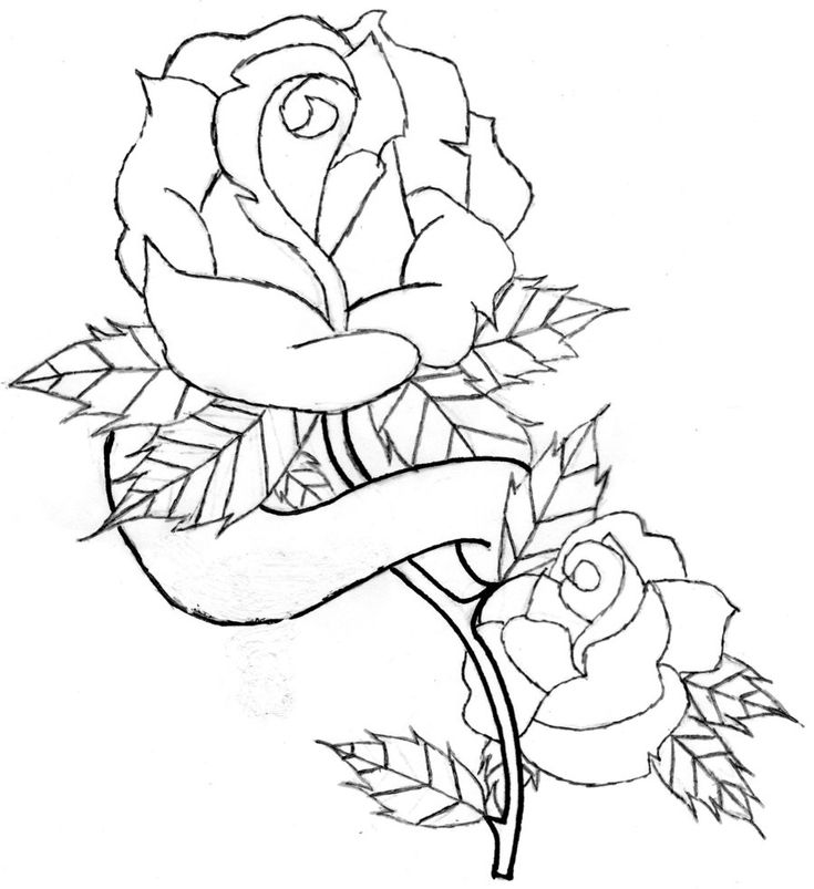 Line Art For Coloring : Heart and roses tattoo drawings rose banner line art