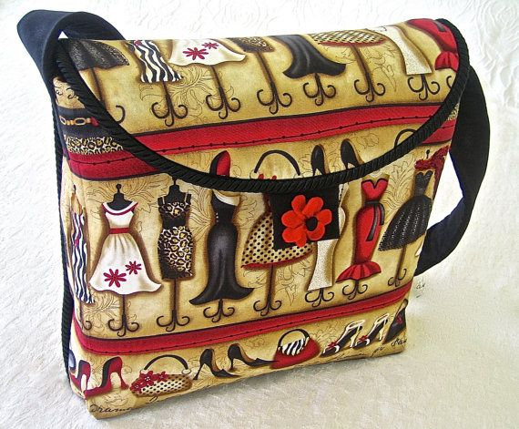 Messenger Bag Handmade Fashion Fabric by ArabellaBlossomsBags